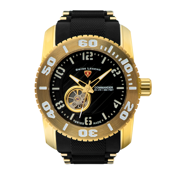 Swiss Legend Gents Commander-IT10 Automatic Watch with Silicone Strap Black