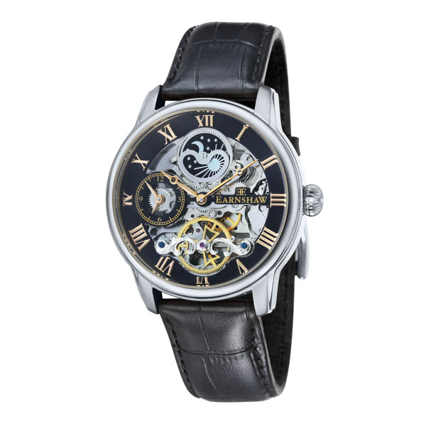 Thomas Earnshaw Gent's Automatic Longitude Skeleton IP Watch with Genuine Leather Strap Black