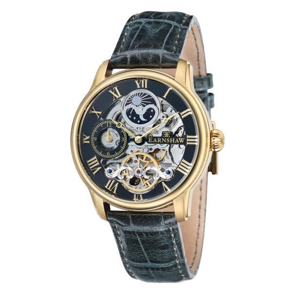 Thomas Earnshaw Gent's Automatic Longitude Skeleton IP Watch with Genuine Leather Strap Green