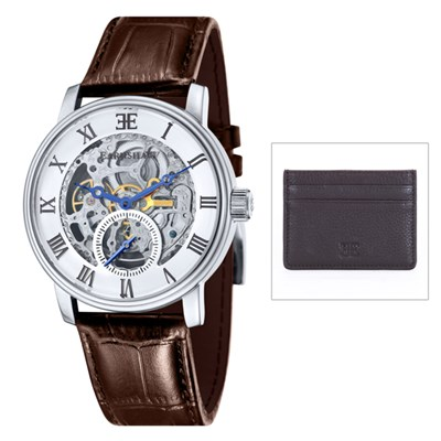Thomas Earnshaw Gent�s Westminster Automatic Watch with Genuine Leather Strap and Leather Card Holder