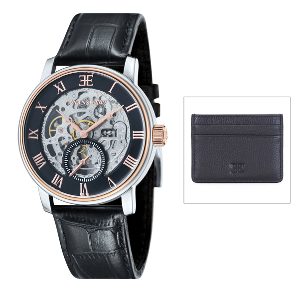 Thomas Earnshaw Gent's Westminster Automatic Watch with Genuine Leather Strap and Leather Card Holder Black/Rose Gold