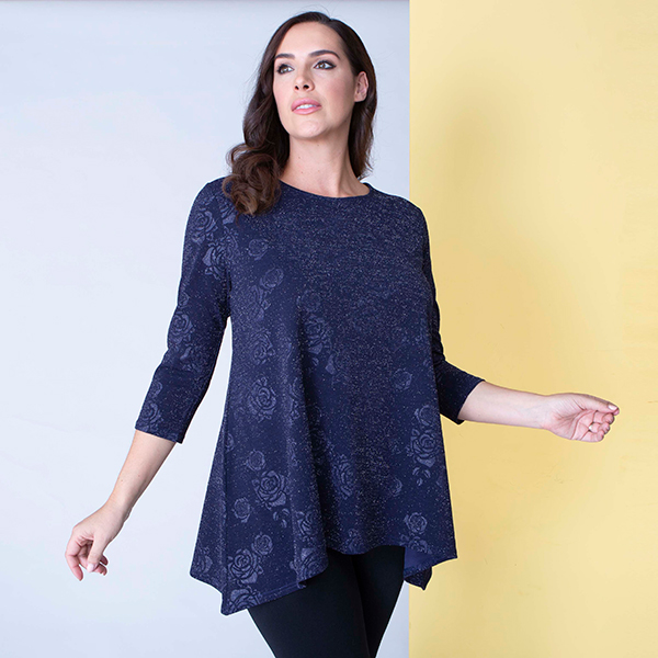 Nicole Embossed Rose Glitter Tunic Midnight