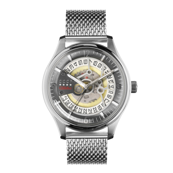 CCCP Gent's Sputnik-2 Automatic Watch with Milanese Bracelet Silver