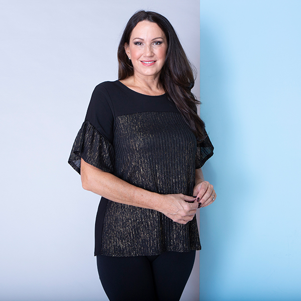 Styled By Gold Effect Frill Sleeve Top Black