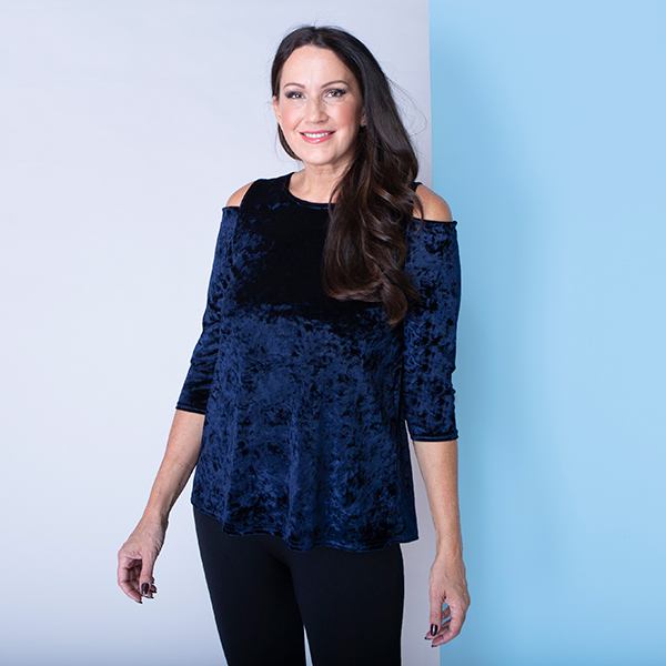 Styled By Crushed Velvet Cold Shoulder Top Midnight