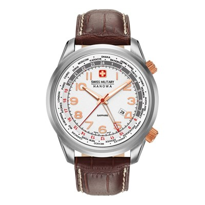 Swiss Military by Hanowa Gent's Worldtimer Watch with Genuine Leather Strap