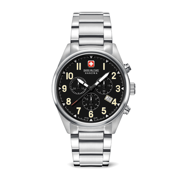 Swiss Military by Hanowa Gent's Sergeant Chronograph Watch with Stainless Steel Bracelet Silver