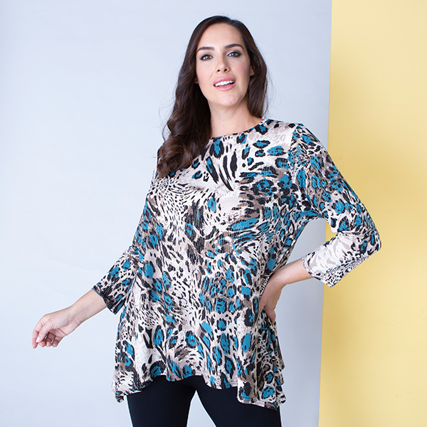 Nicole Animal Foil Print Tunic Teal