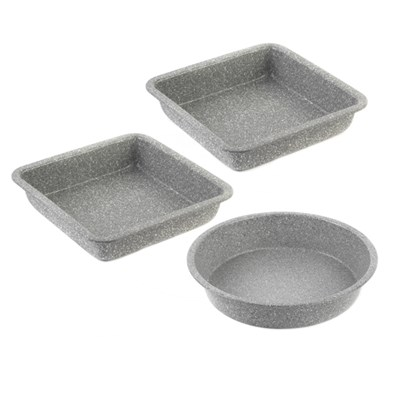 Salter 3pc Bakeware Set with Square Trays and Round Baking Pan