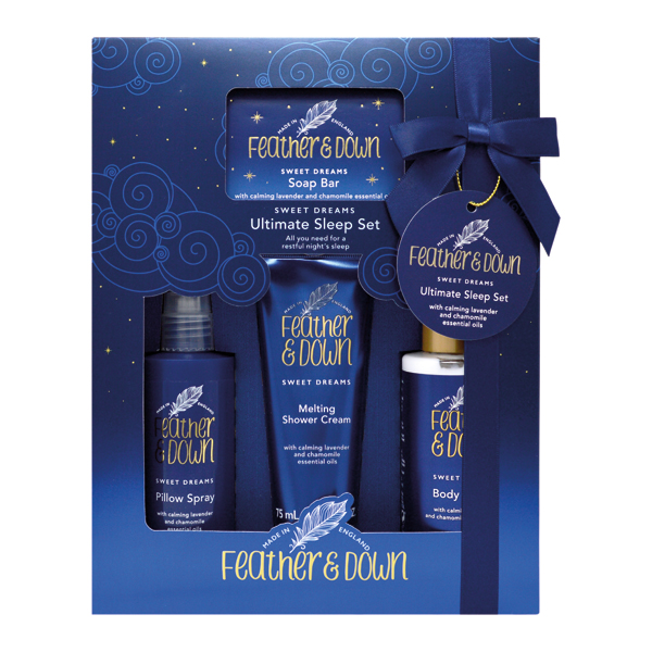 Feather and Down Ultimate Sleep Set with Calming Lavender and Chamomile Oils No Colour
