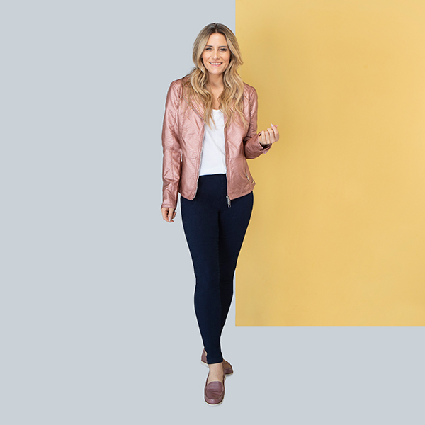 Rino & Pelle Gina Faux Leather Jacket Rose Dawn