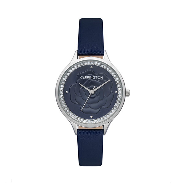 Carrington Elsie Ladies' Floral Watch with Genuine Leather Strap Blue