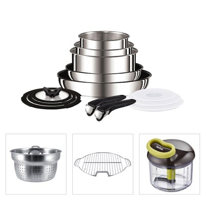 Tefal Ingenio 13pc Stainless Steel Pan with Pasta Insert, Grill Insert and 5 Second Chopper