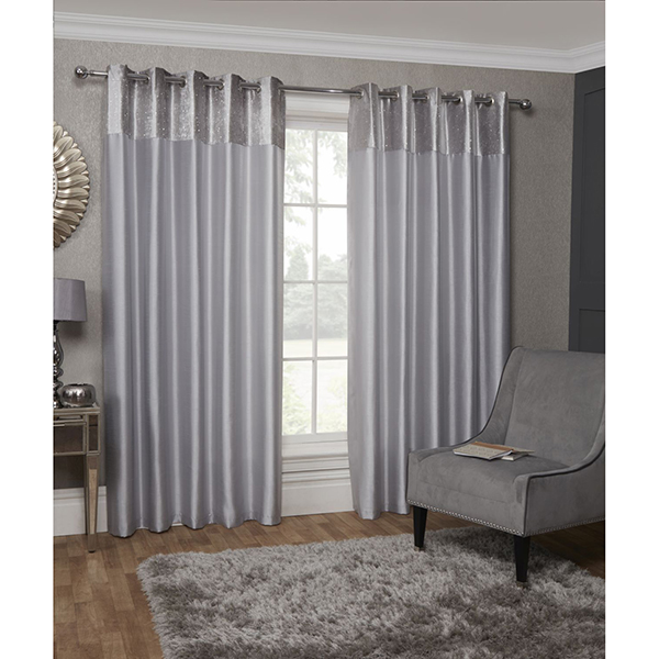 Aurora Eyelet Lined Curtains 90-inches Silver