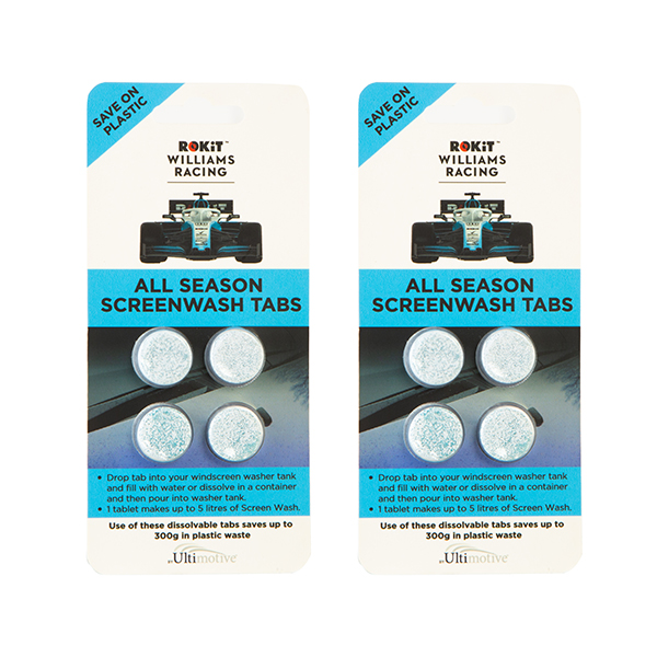 Williams Racing ROKiT All Season Screen Wash Tabs (2 x 4 Pack) No Colour