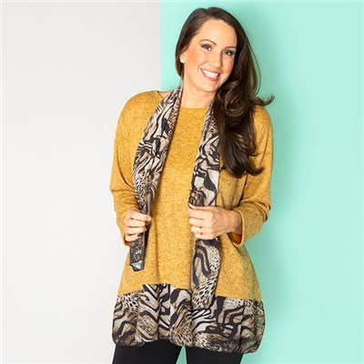 Sugar Crisp Animal Trim Tunic and Scarf