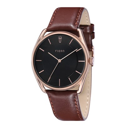 Fjord Vigdic Gent's Watch with Genuine Leather Strap