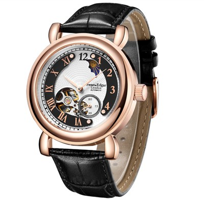 Swan & Edgar Gent's World Timer Automatic Watch with Genuine Leather Strap