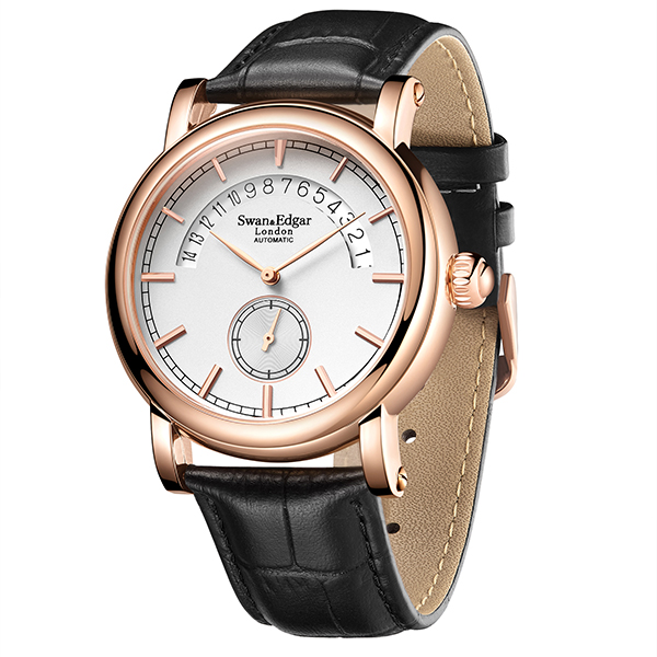 Swan & Edgar Gent's City Timer Automatic Date Watch with Genuine Leather Strap Rose Gold