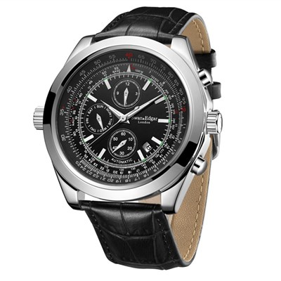 Swan & Edgar Gent's Race Counter Automatic Watch with Genuine Leather Strap & Wallet