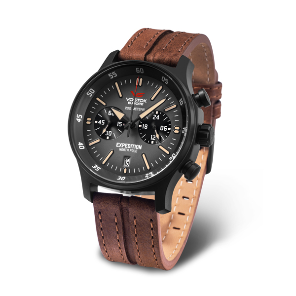Vostok Europe Gent's Expedition N1 Chronograph Watch with PVD Case and Genuine Leather Strap Black