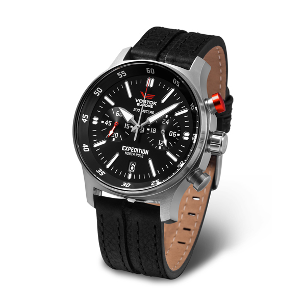 Vostok Europe Gent's Expedition N1 Chronograph Watch with Genuine Leather Strap Silver