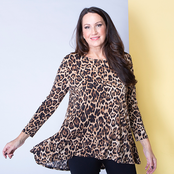 Nicole Print Dip Back Godet Tunic Animal