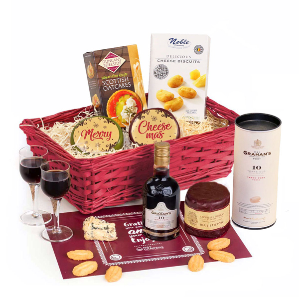 Hay Hampers Merry Cheesemas Port & Stilton Gift Basket No Colour
