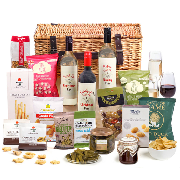Hay Hampers Christmas Eve, Day and Boxing Day Bites and Booze Gift Basket No Colour