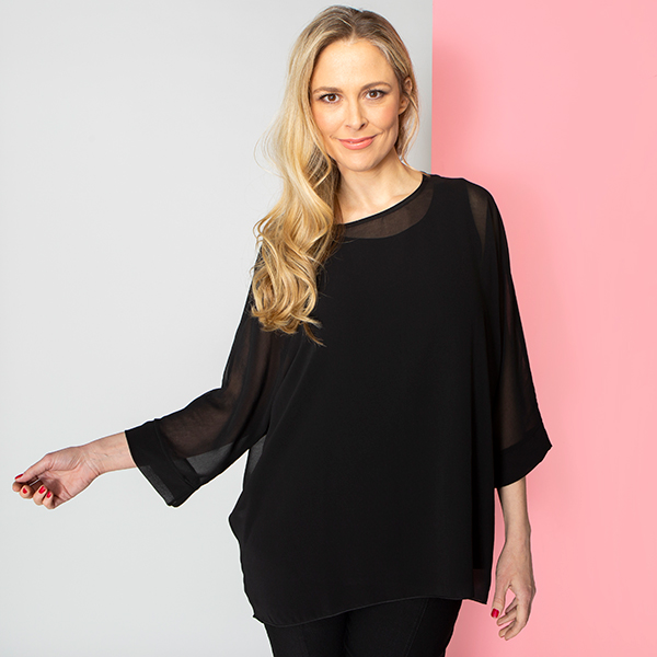 Nicole Chiffon Top with Two Way Camisole Black