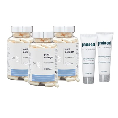 Proto-Col 90 Days Collagen (3 x 120 Caps) with Facial Gel 20ml and Mask 20ml