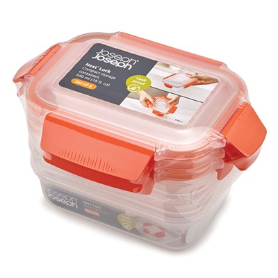 Joseph Joseph Orange Nest Lock 3 Piece Container Set (3 x 540ml)