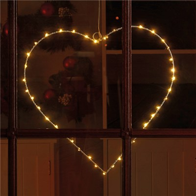 40 LED Wire Heart Light 30cm