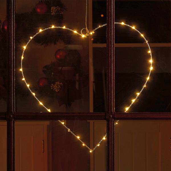 40 LED Wire Heart Light 30cm No Colour