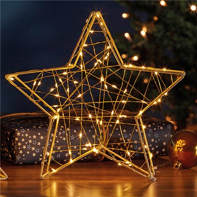 70 LED Gold 3D Star Light G4322