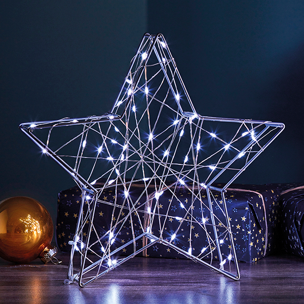 70 LED Silver 3D Star Light G4324 No Colour