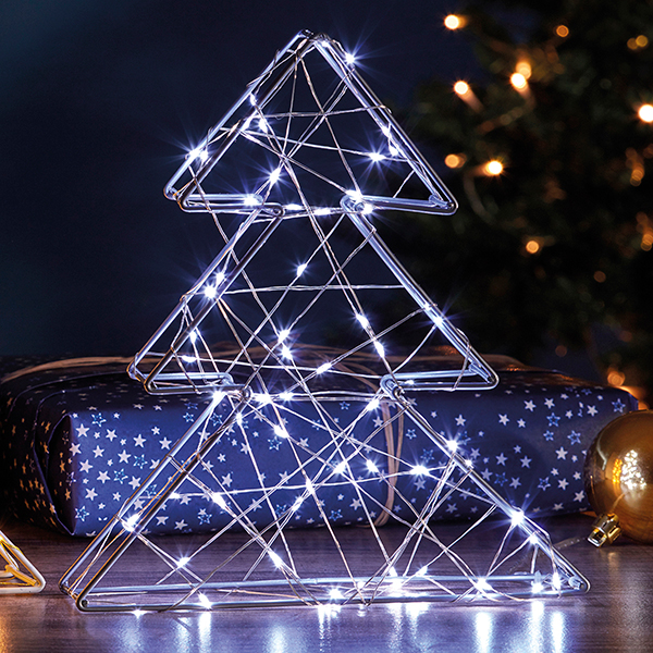 70 LED Silver 3D Xmas Tree Light G4325 No Colour