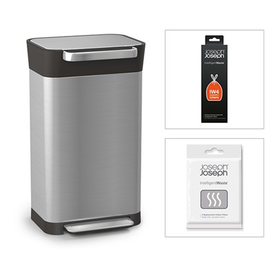 Joseph Joseph Titan 30 Stainless Steel Bin with Custom Fit Compaction Liners and Odour Filter