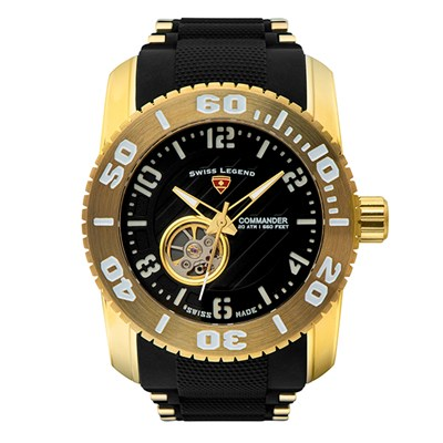 Swiss Legend Gent's Commander IT10 IP Automatic Watch with Silicone Bracelet