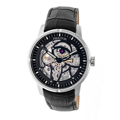 Heritor Gent's Automatic Ryder Open Heart with Genuine Leather Strap & Wallet