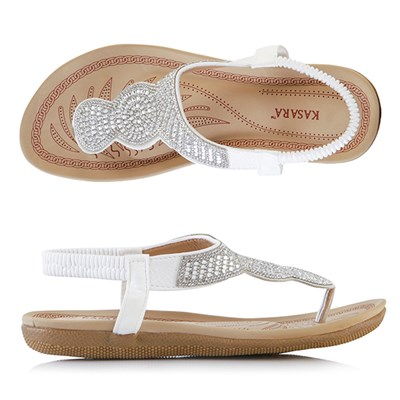 Kasara Diamante Thong Sandals