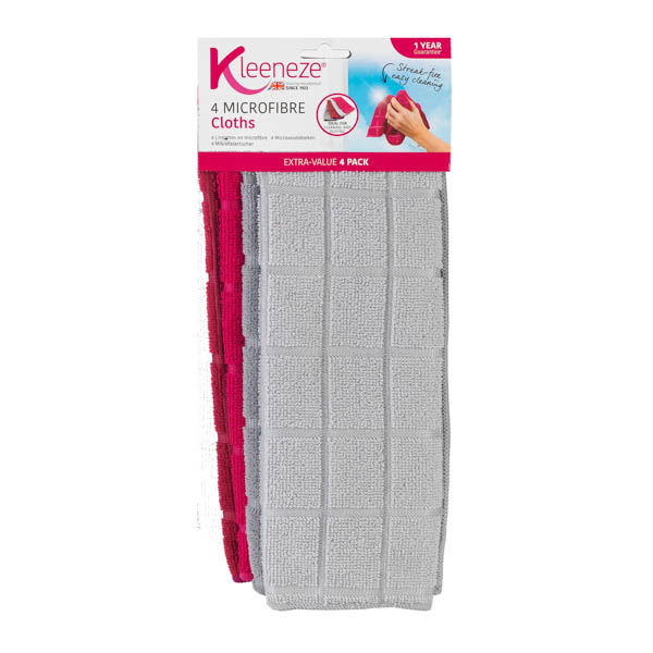 Kleeneze Microfibre Cloths Pack of 4 No Colour