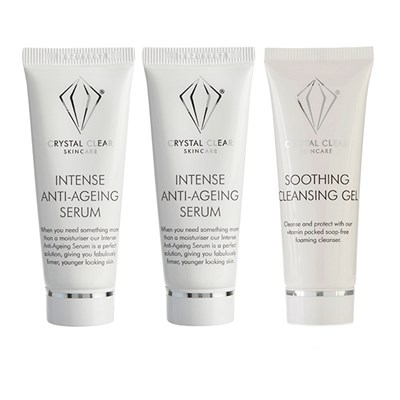 Crystal Clear Intense Anti-Age Serum 25ml Twin Pack with Soothing Cleansing Gel 25ml