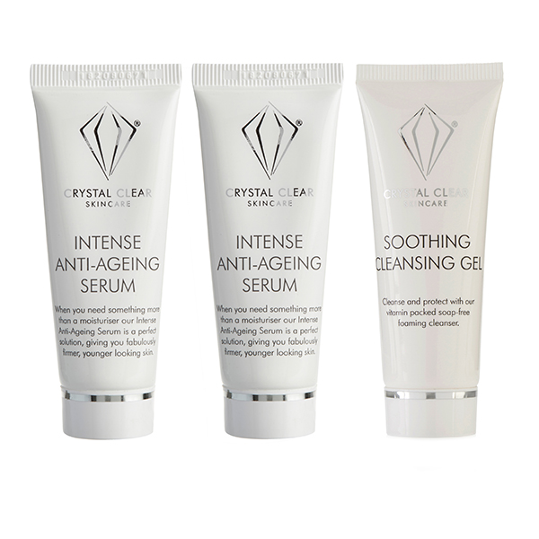 Crystal Clear Intense Anti-Age Serum 25ml (Twin Pack) with Soothing Cleansing Gel 25ml No Colour