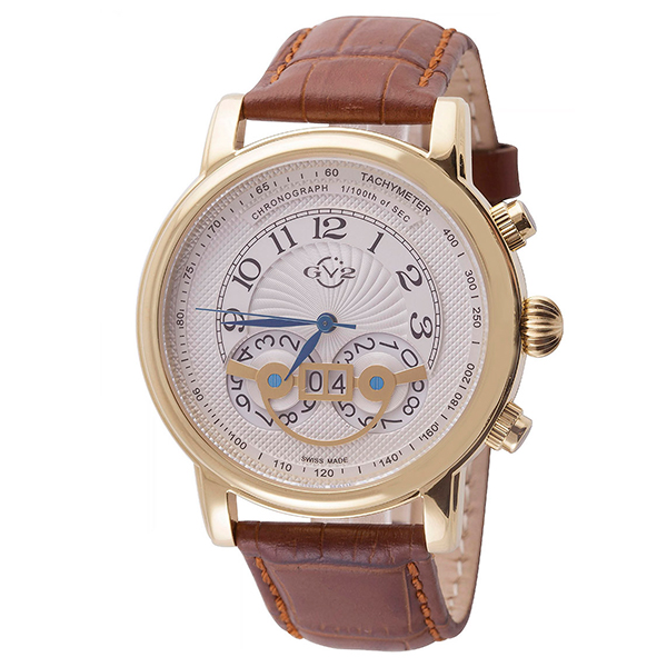 GV2 Gent's Montreux Ltd Edt Swiss Chronograph Watch with Genuine Leather Strap Gold