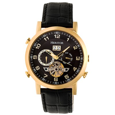 Heritor Gent's Automatic Edmond Watch with Genuine Leather Strap & Wallet