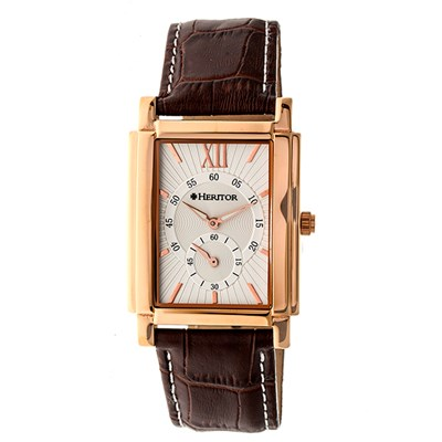 Heritor Gent's Automatic IP Plated Frederick Watch with Genuine Leather Strap & Wallet
