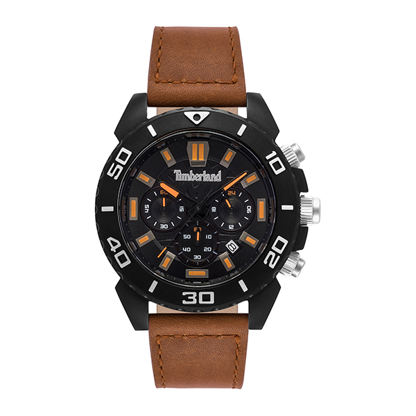 Timberland Gent's Barnstead Watch with Genuine Leather Strap Brown
