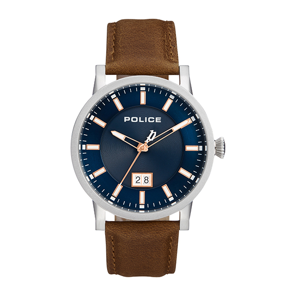 Police Gent's Collin Watch with Genuine Leather Strap Blue
