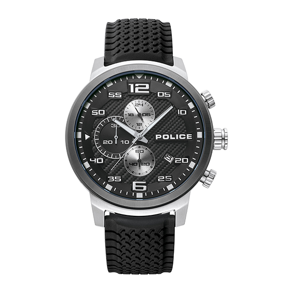 Police Gent's Bromo Watch with Silicone Strap Black